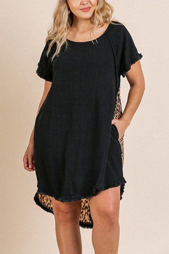 Linen blend short ruffle sleeve round neck dress-id.cc39873