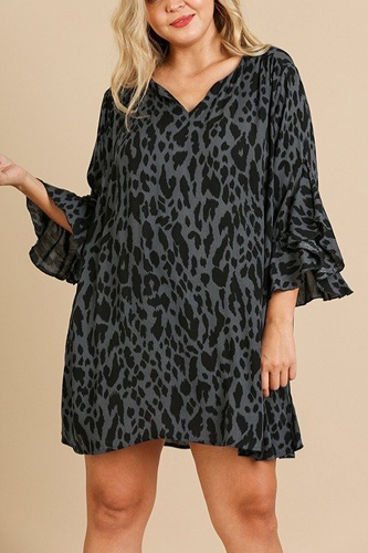 Animal print ruffle split sleeve split neck dress-id.cc39874