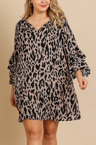 Animal print ruffle split sleeve split neck dress-id.cc39874a