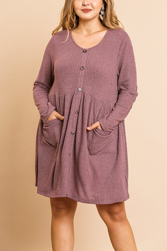 Waffle knit long sleeve round neck faux button front babydoll dress-id.cc39875