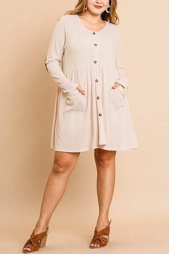 Waffle knit long sleeve round neck faux button front babydoll dress-id.cc39875b