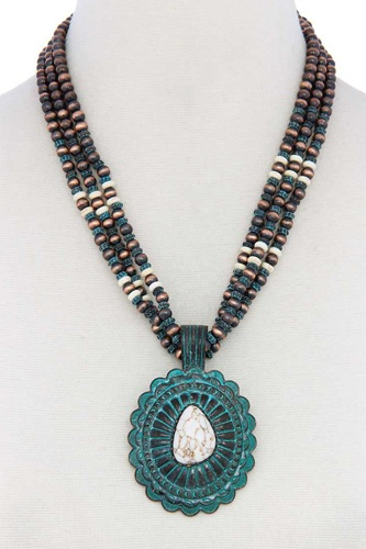 Western concho pendant beaded necklace-id.cc39882