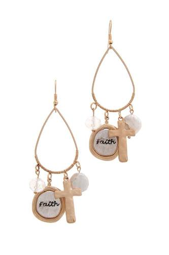 Faith cross charm drop earring-id.cc39888