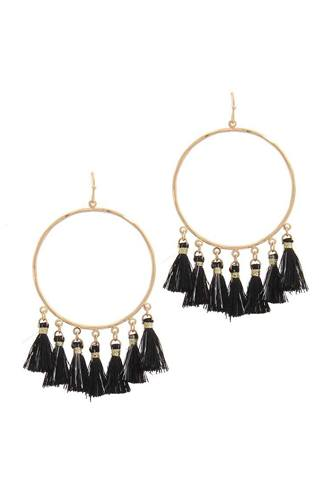 Two tone tassel circle drop earring-id.cc39899