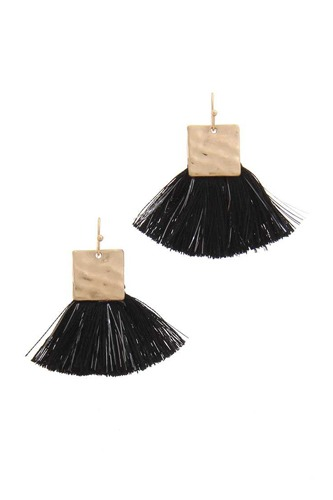 Hammered metal square fan tassel drop earring-id.cc39900