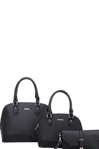 3in1 2 domed satchel bags and clutch set-id.cc39906