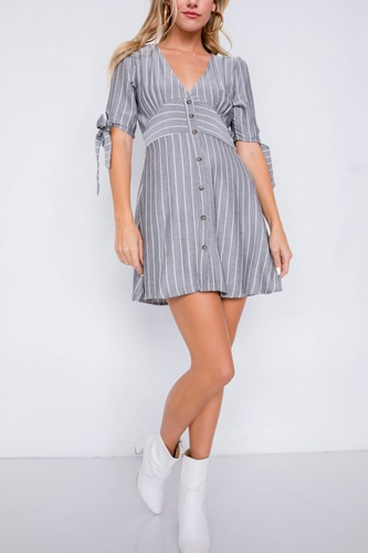 Stripe casual office chic 3/4 bow sleeve mini dress-id.cc39913