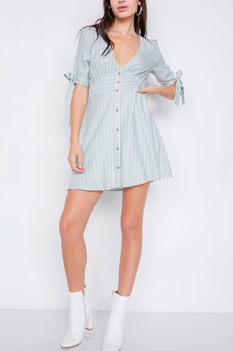 Stripe casual office chic 3/4 bow sleeve mini dress-id.cc39913a
