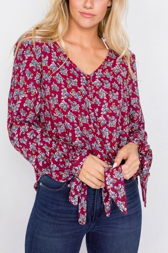 Burgundy high-low center tie scoop neck blouse-id.cc39920