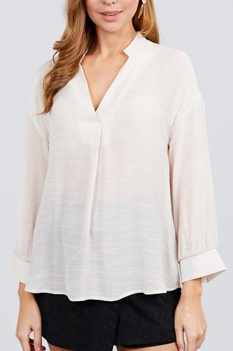 3/4 cuff sleeve v-neck w/collar woven top-id.cc39928