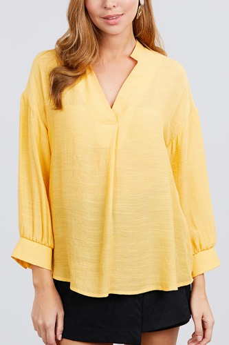 3/4 cuff sleeve v-neck w/collar woven top-id.cc39928a