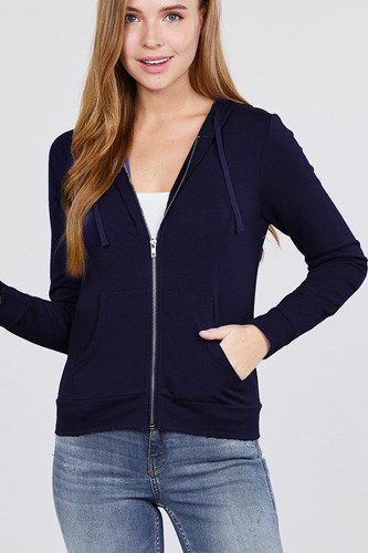 Long sleeve zipper french terry jacket w/ kangaroo pocket-id.cc39930g