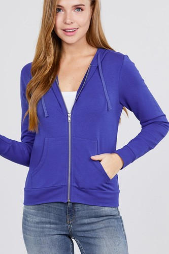 Long sleeve zipper french terry jacket w/ kangaroo pocket-id.cc39930m
