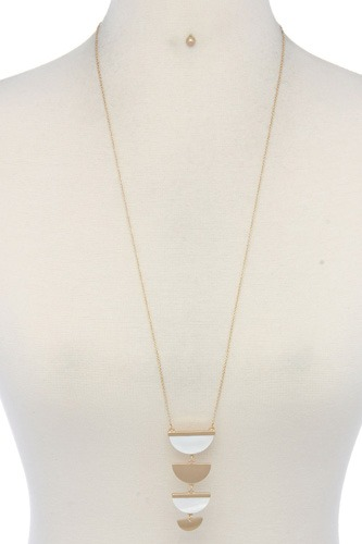 Two tone half circle pendant necklace-id.cc39937