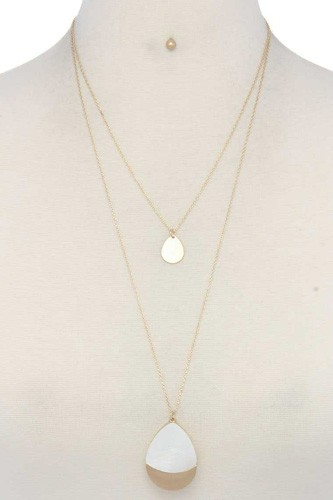 Teardrop shape layered necklace-id.cc39938