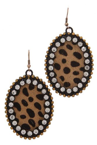 Animal print pattern genuine leather circle drop earring-id.cc39943