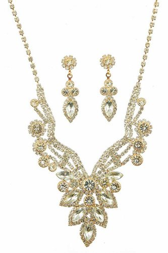 Luxury marquise multi rhinestone necklace and earring set-id.cc39954