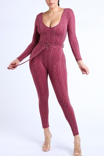 Cable knit shaped jersey jumpsuit-id.cc39966