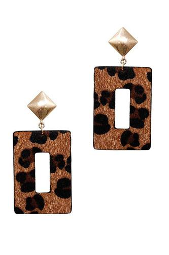 Modern rectangle leopard fur dangle drop earring-id.cc39986