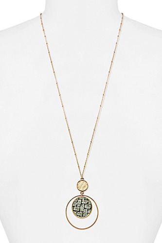 Modern double layer pendant necklace-id.cc39997