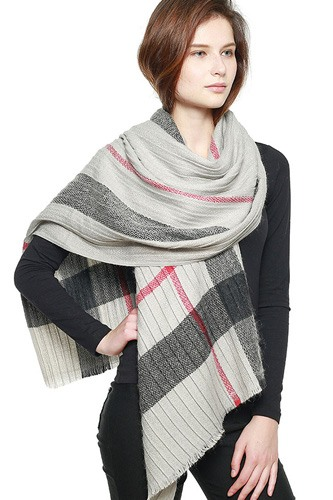 Plaid pattern pleated scarf-id.cc40005