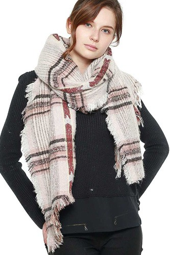 Soft plaid check scarf-id.cc40008