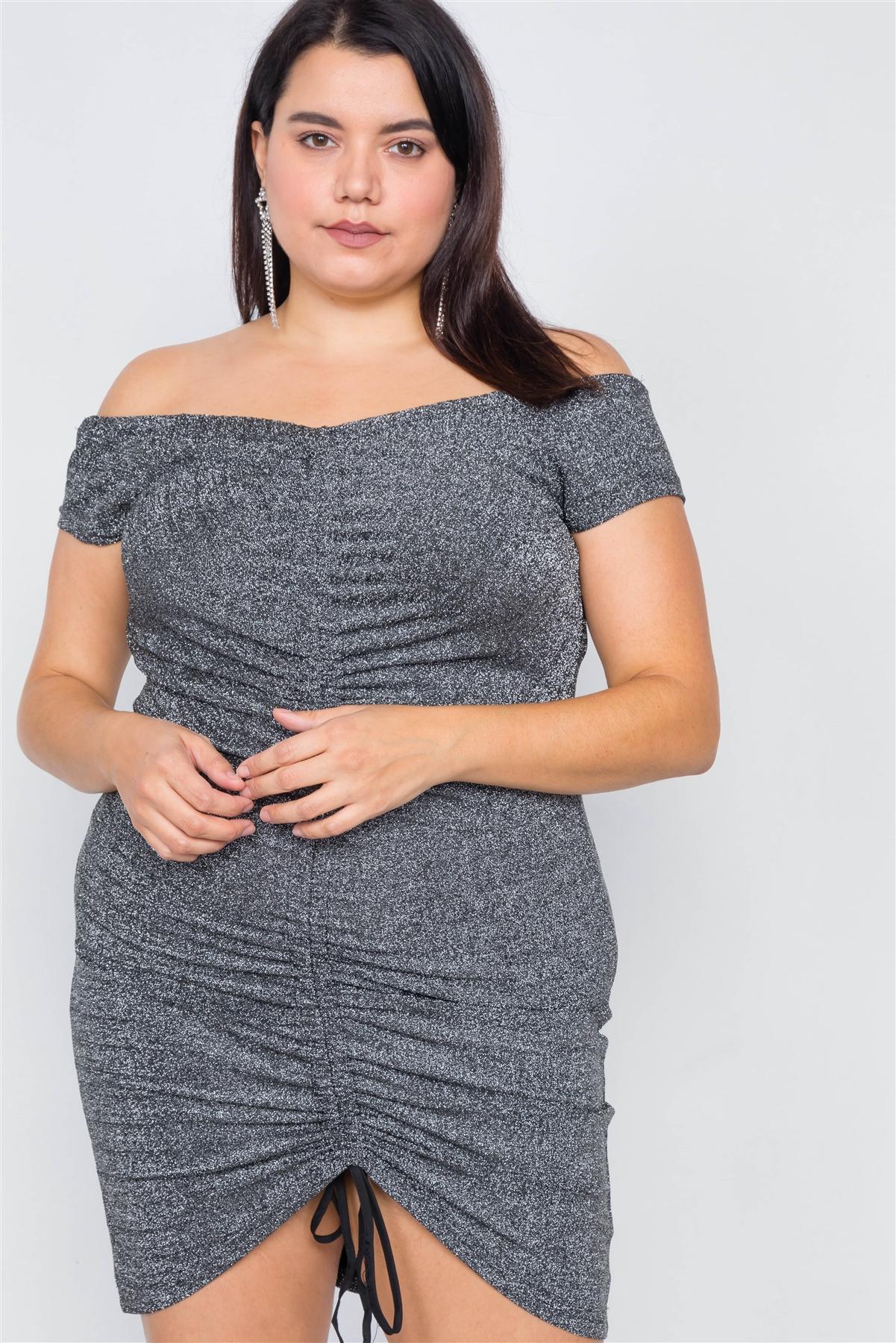 Plus size ruched draw string center mini glitter dress-id.cc40012a
