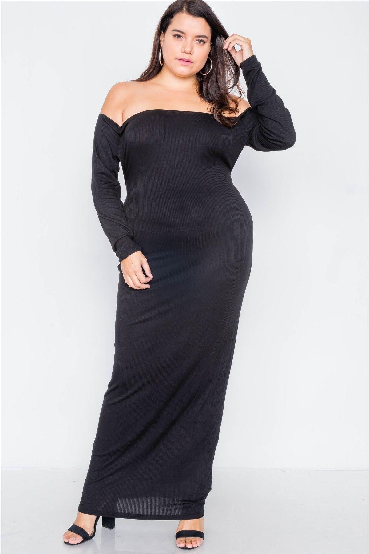 Plus size ribbed black maxi dress-id.cc40014
