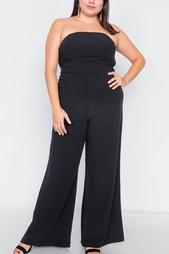 Plus size buckle cut-out sleeveless wide leg jumpsuit-id.cc40013