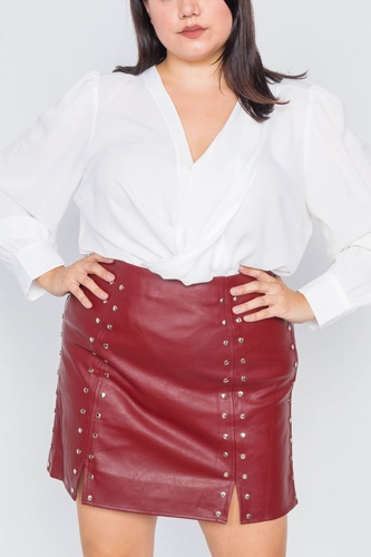 Plus size cherry slit silver grommet mini leather skirt-id.cc40017