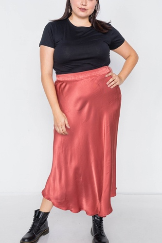 Plus size clay silk round hem midi skirt-id.cc40018