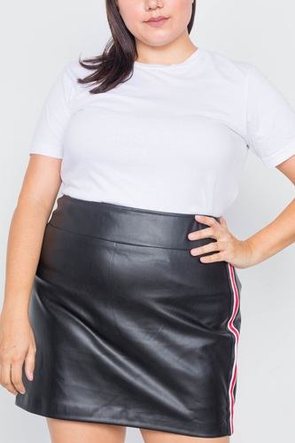 Plus size black color block trim mini leather skirt-id.cc40020