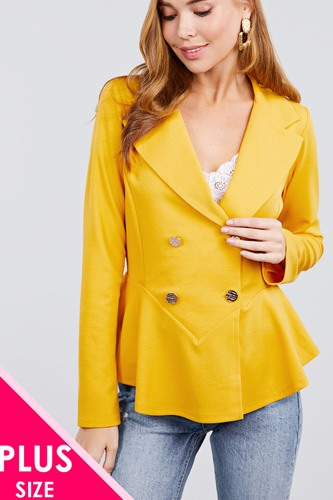 Long sleeve notched lapel collar double breasted ruffle hem jacket-id.cc40026a