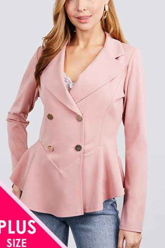 Long sleeve notched lapel collar double breasted ruffle hem jacket-id.cc40026b