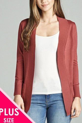 Long sleeve rib banded open sweater cardigan w/pockets-id.cc40027