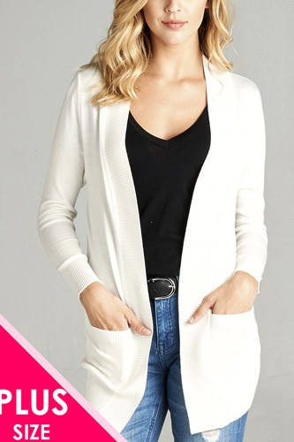 Long sleeve rib banded open sweater cardigan w/pockets-id.cc40027a