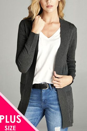 Long sleeve rib banded open sweater cardigan w/pockets-id.cc40027b