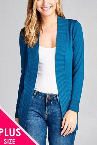 Long sleeve rib banded open sweater cardigan w/pockets-id.cc40027c