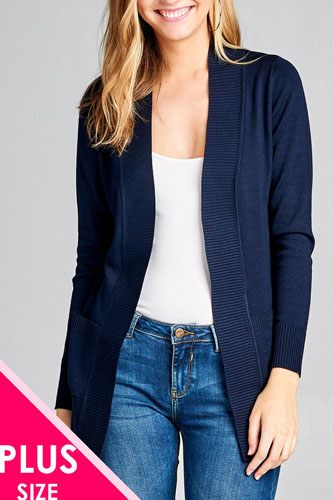 Long sleeve rib banded open sweater cardigan w/pockets-id.cc40027d