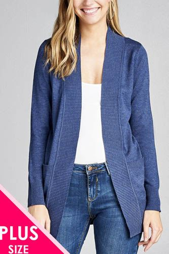 Long sleeve rib banded open sweater cardigan w/pockets-id.cc40027f