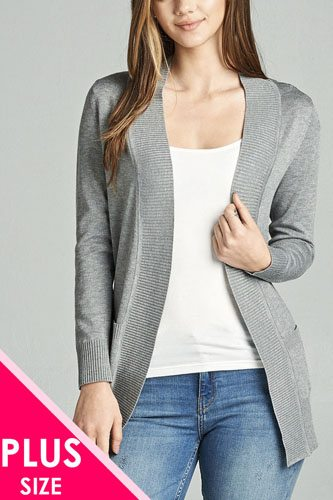 Long sleeve rib banded open sweater cardigan w/pockets-id.cc40027j