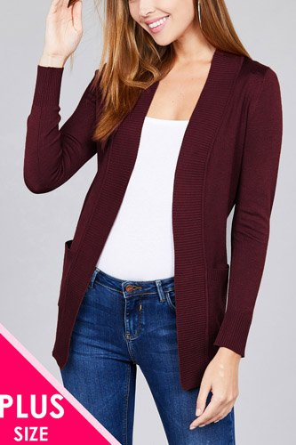 Long sleeve rib banded open sweater cardigan w/pockets-id.cc40027k