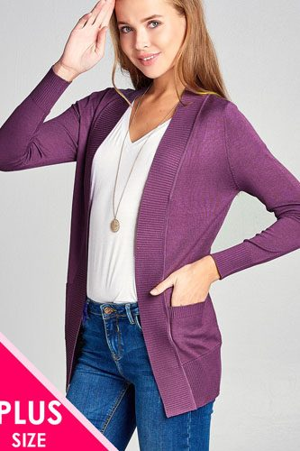 Long sleeve rib banded open sweater cardigan w/pockets-id.cc40027m