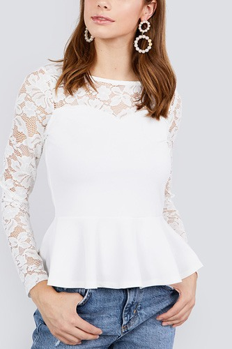 Long sleeve round neck lace detail peplum knit top-id.cc40029a