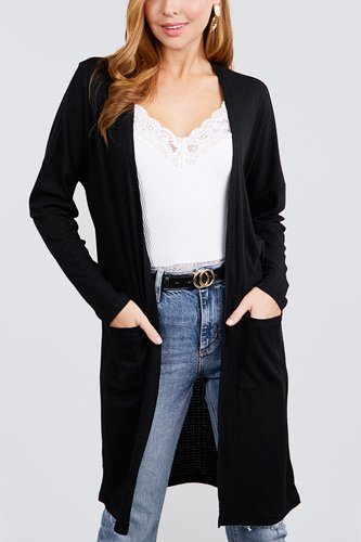 Long dolman sleeve open front w/pocket pointelle rib long cardigan-id.cc40030