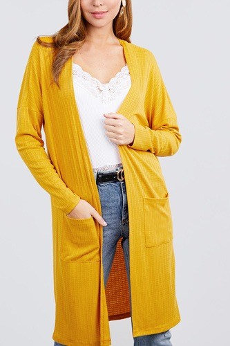 Long dolman sleeve open front w/pocket pointelle rib long cardigan-id.cc40030b