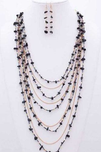 Gem stone n bead multilayered necklace-id.cc40034