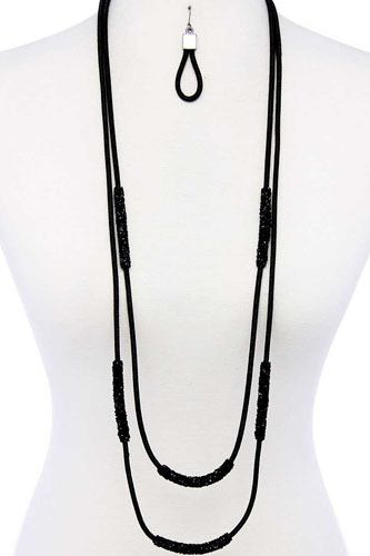 Double layer chic long necklace and earring set-id.cc40048