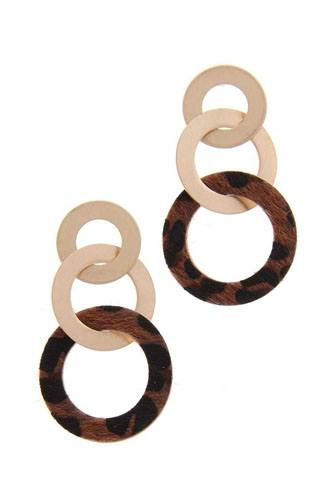 Animal print circle metal post drop earring-id.cc40049