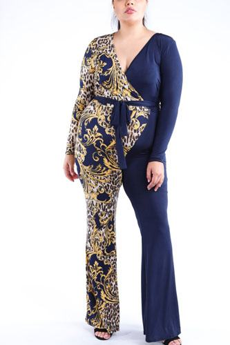 Leopard paisley printed color blocked jumpsuit-id.cc40064